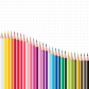 Векторный набор цветных карандашей