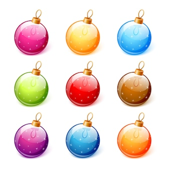 Векторный набор красочных новогодних шаров