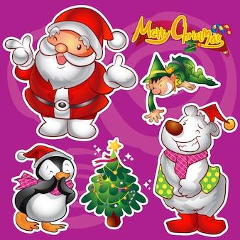 Векторный набор красочных симпатичных рождественских персонажей и украшений