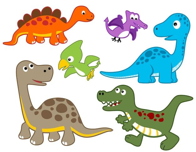 カラフルな恐竜の漫画のベクトルセット