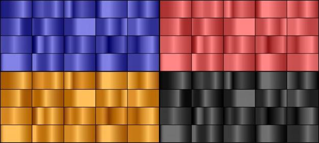 カラフルな金属グラデーションのベクトルを設定