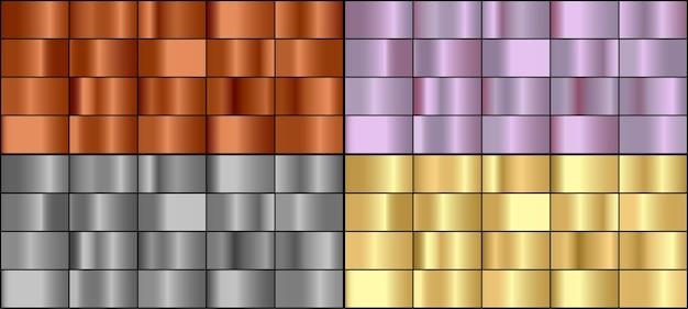 Векторный набор красочных металлических градиентов.