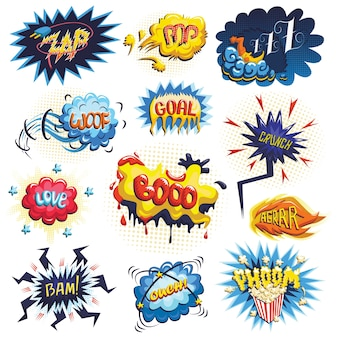 Векторный набор значков комиксов