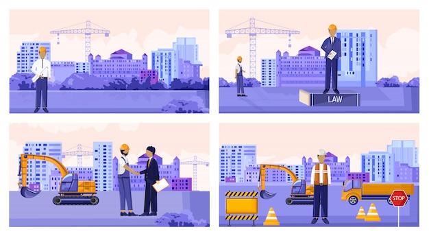 Векторный набор строительных рабочих с транспортными средствами и зданиями