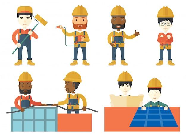 Векторный набор конструкторов и строителей персонажей