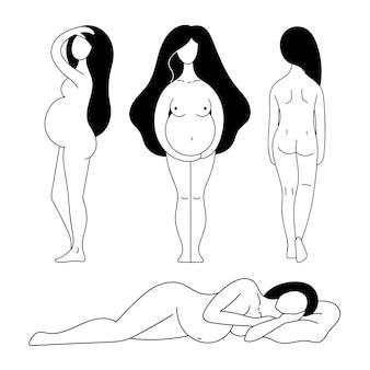 輪郭の美しいヌード妊婦のベクトルセット出産のための出産準備