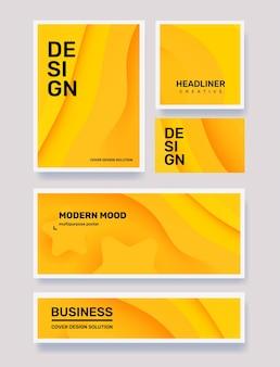 フレームビジネスの創造的な黄色の抽象的な異なる紙カットスタイルイラストのベクトルセット Premiumベクター