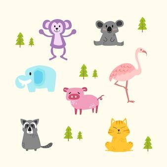 Векторный набор милых животных.