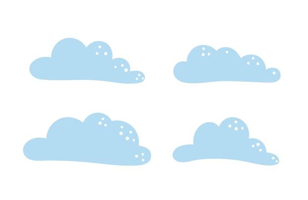 귀여운 파란색 평면 스타일 구름 쾌활한 유치 아이콘 벡터 세트