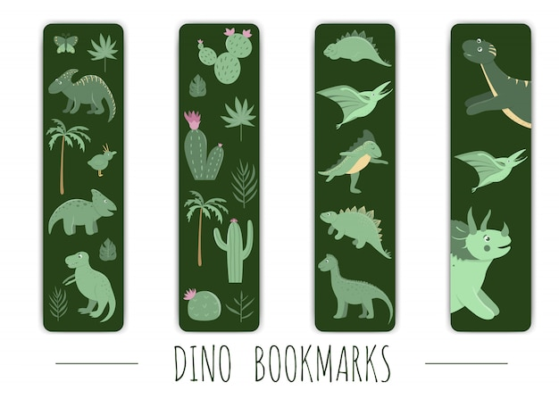 緑の恐竜とかわいいブックマークのベクトルを設定します。