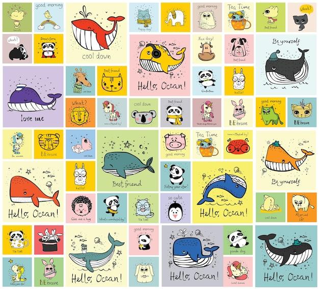 Векторный набор милых каракули хипстерских карточек с животными идеально подходит для дизайна поздравительных открыток с принтами футболок и к ...