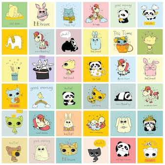 귀여운 낙서 소식통 동물의 벡터 집합입니다. 연하장 디자인, 티셔츠 인쇄 및 아동용 포스터에 적합합니다.