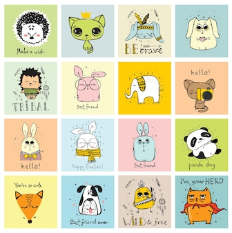 귀여운 낙서 소식통 동물의 벡터 집합입니다. 연하장 디자인, 티셔츠 인쇄 및 아동용 포스터에 적합합니다. 프리미엄 벡터