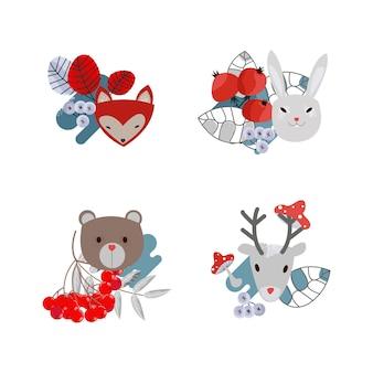 Векторный набор милых лесных животных и деревьев олень, медведь, заяц и лиса, деревья и грибы