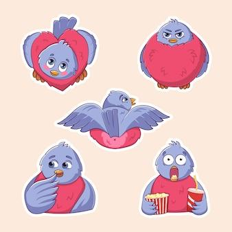 새 멋쟁이 새의 귀여운 재미 다양 한 스티커의 벡터 집합 다른 감정 다양 한 포즈