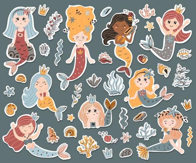 Векторный набор наклеек милые русалки