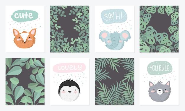 배경에 사랑스러운 개체와 재미있는 동물 포스터와 귀여운 엽서 벡터 세트