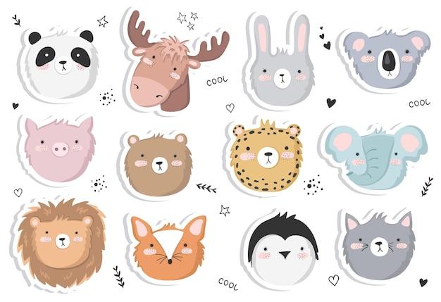 재미있는 동물과 귀여운 텍스트가 있는 귀여운 포스터의 벡터 세트