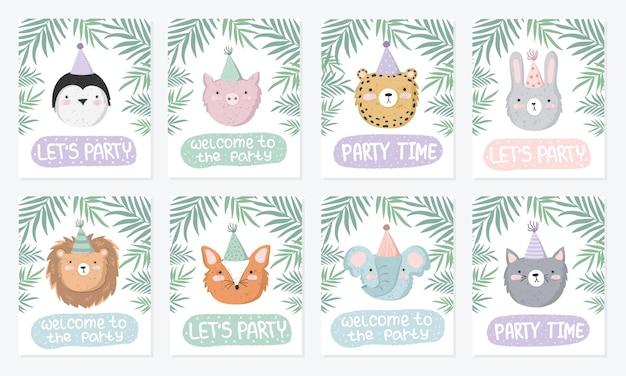 파티 및 텍스트에서 축제 동물과 함께 귀여운 포스터의 벡터 세트