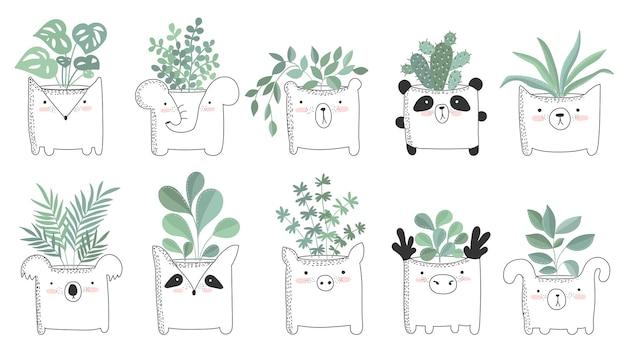 재미있는 동물 냄비에 집 식물이 있는 귀여운 포스터의 벡터 세트. 배경, 파스텔 색상에 사랑스러운 물건이 있는 포스터. 발렌타인 데이, 기념일, 날짜 저장, 베이비 샤워, 신부, 생일