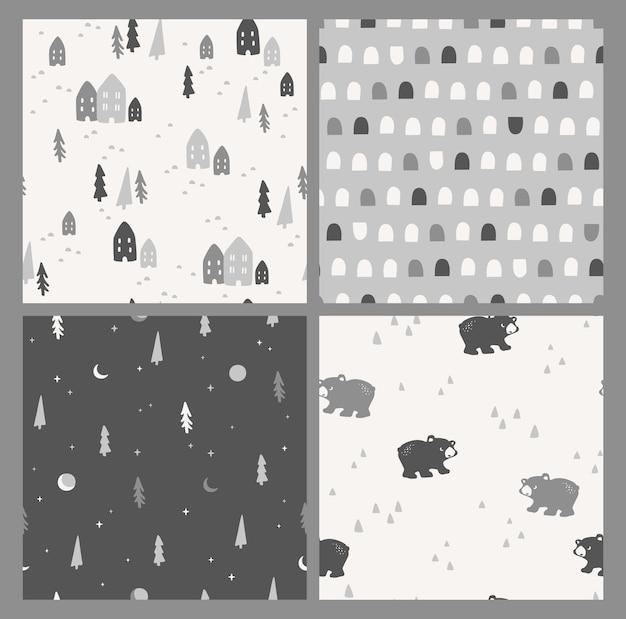귀여운 겨울 완벽 한 패턴의 벡터 집합입니다. 자연, 나무, 집, 곰. 트렌디한 손으로 그린 텍스처. 섬유, 벽 예술, 포장지, 벽지 및 기타 용도를 위한 디자인.