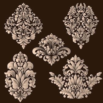 Векторный набор декоративных элементов из дамасской стали. элегантные цветочные абстрактные элементы