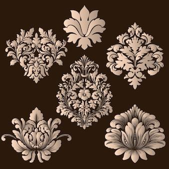Векторный набор декоративных элементов из дамасской стали
