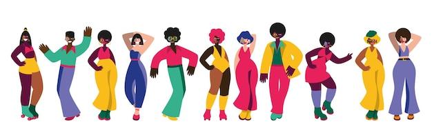 Векторный набор танцующих людей дискотеки и моды 70-х годов