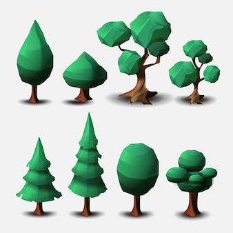 白い背景で隔離の落葉樹と針葉樹のベクトルセット。ベクトル漫画の木、漫画の3d環境、ゲームグラフィックスの風景要素。
