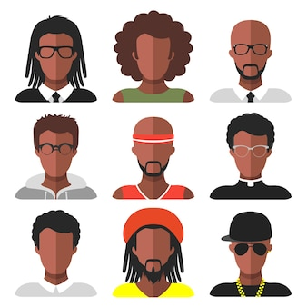 トレンディなフラットスタイルのさまざまなアフリカ系アメリカ人男性アプリアイコンのベクトルセット。