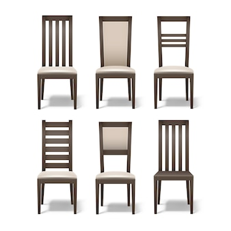 白い背景で隔離の柔らかいベージュの張りと異なる茶色の木製の部屋の椅子のベクトルセット