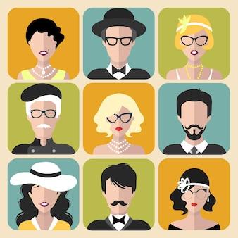 さまざまな形のヴィンテージメガネとフラットスタイルの男性のさまざまなフラッパーの女の子のベクトルセット。