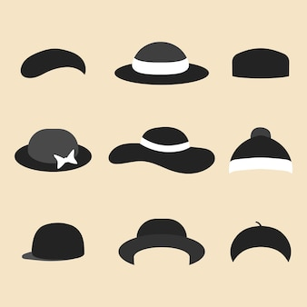 トレンディなフラットスタイルのさまざまな帽子アイコンのベクトルセット。