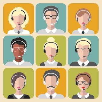 トレンディなフラットスタイルのコールセンターアプリアイコンで働くさまざまな男性と女性のベクトルセット。