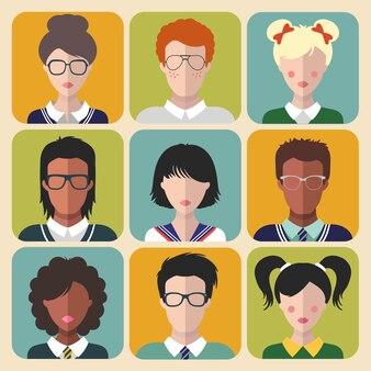 Векторный набор знаков детей разной национальности в модном плоском стиле. иконки приложений faces. портреты девочек и мальчиков для сети. детские аватарки. сборник образов школьников, студентов.