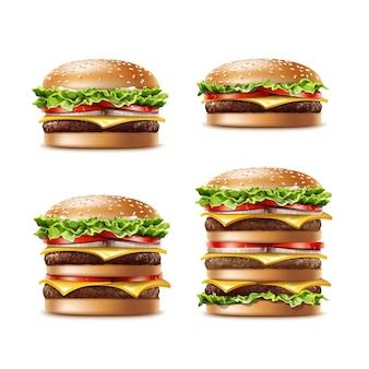 さまざまなリアルなハンバーガークラシックバーガーアメリカンチーズバーガーとレタストマトオニオンチーズビーフとソースのベクトルセット白い背景で隔離のクローズアップ。ファストフード