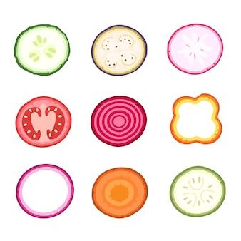 野菜のさまざまなスライスのベクトルセットカット野菜のベクトル図