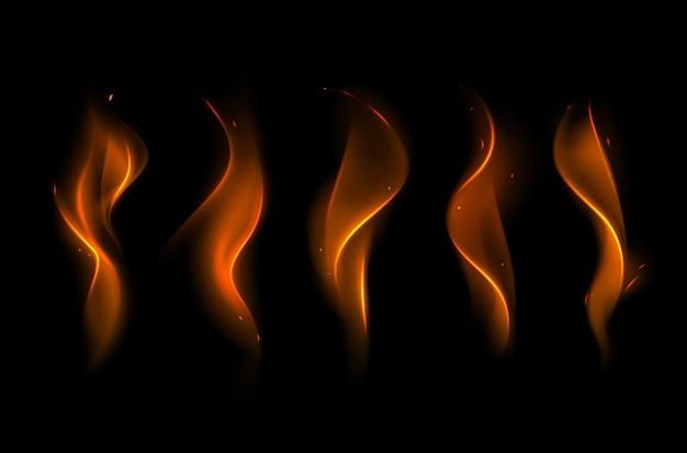 Векторный набор различных желтого оранжевого пламени огня