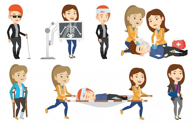 Векторный набор символов доктора и пациентов.