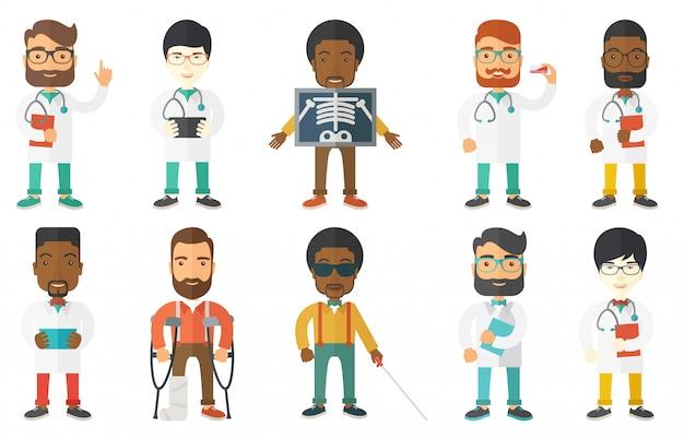 医師の文字と患者のベクトルを設定します。