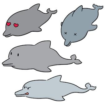 Векторный набор дельфинов