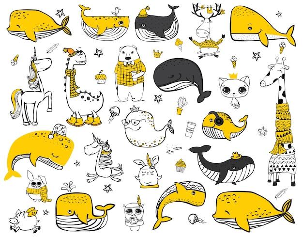 グリーティングカードのデザインのtシャツのプリントや子供のポスターに最適な落書きヒップスター動物のベクトルセット