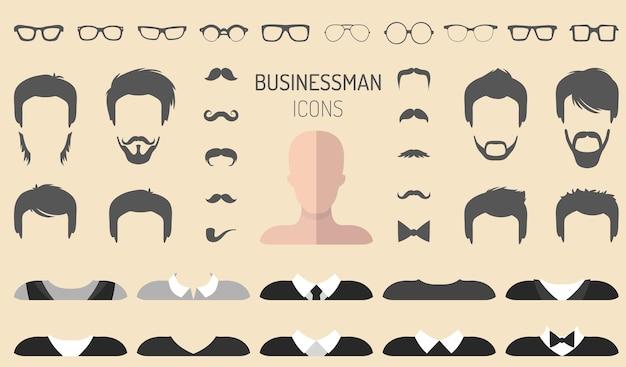 다른 남자 안경, 수염, 콧수염이 평평한 스타일의 드레스업 생성자의 벡터 세트.