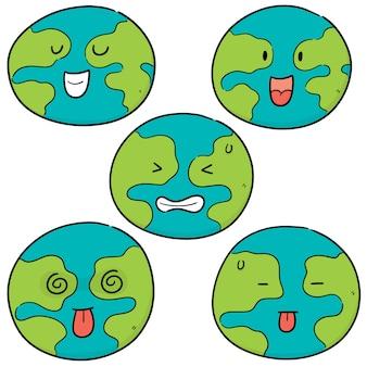지구 만화 벡터 세트