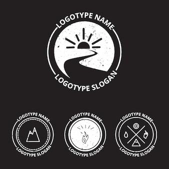 エコロジーのロゴタイプ、アイコン、自然のシンボルのベクトルセット:太陽、円の川(水)、山、雇う、水