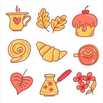 Векторный набор элементов с круассаном, булочкой, чашкой кофе, туркой, кексом в стиле каракули