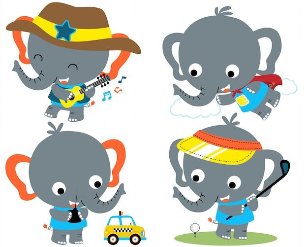 코끼리 만화 벡터 세트