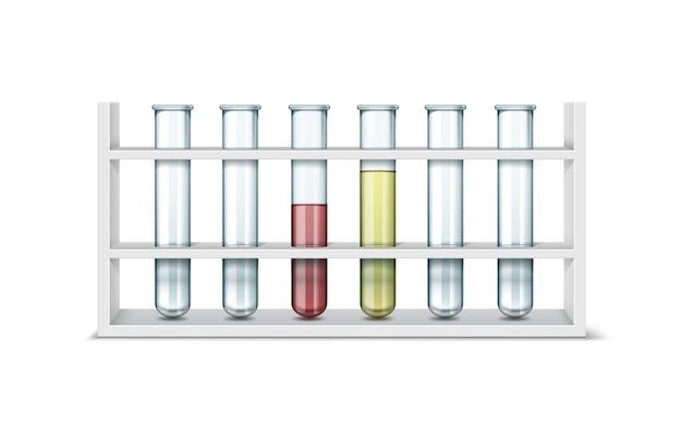 흰색 배경에 고립 된 빨간색, 노란색 액체와 함께 빈 투명 유리 화학 실험실 테스트 튜브의 벡터 집합