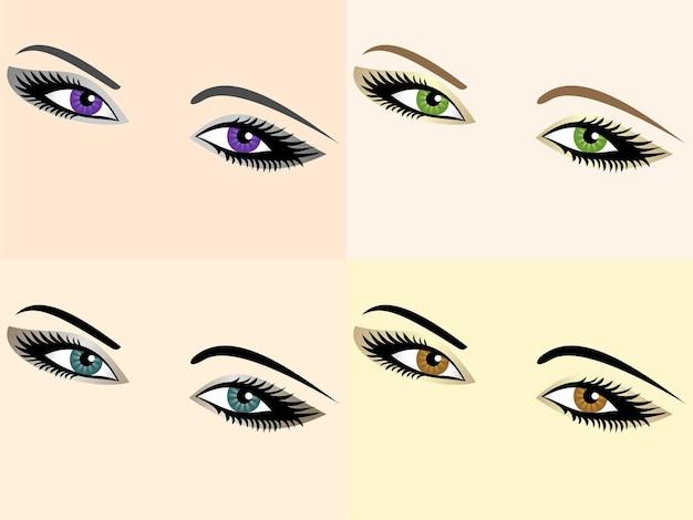 異なる色の目の画像のベクトルセット