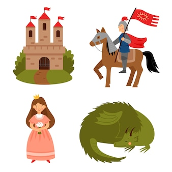 おとぎ話のキャラクターのベクトルセットプリンセスナイトドラゴンと城
